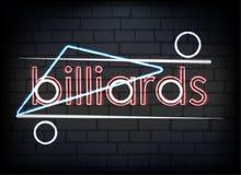 Neonowego znaka Billiards na ściana z cegieł tle ilustracja wektor