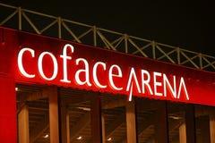Neonowego znaka Coface arena Mainz Obrazy Royalty Free