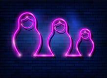 Neonowego znaka gniazdować lal Rosyjski matrioska, ustalony zaświecający szyldowy ikona symbol Rosja Menchii Matryoshka mody usta royalty ilustracja