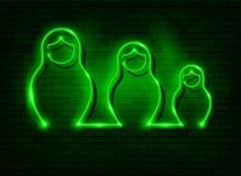 Neonowego znaka gniazdować lal Rosyjski matrioska, ustalony zaświecający szyldowy ikona symbol Rosja Zieleni Matryoshka mody usta royalty ilustracja
