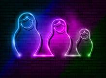 Neonowego znaka gniazdować Rosyjskie lale Matrioska, ustalony zaświecający szyldowy ikona symbol Rosja Kolorowy ustalony dowodzon ilustracji