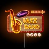 Neonowego znaka Jazzowy zespół Obraz Stock