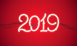 Neonowego znaka nowy rok 2019 Obrazy Stock