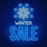 Neonowego znaka zimy sprzedaż Zdjęcie Stock