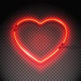 Neonowej lampy serce ilustracja wektor