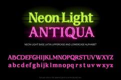 Neonowej tubki abecadła typeface Neonowi koloru światła serif listy Podstawowy łaciński uppercase i lowercase typ set Pełny Angie ilustracji