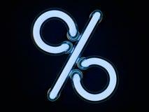 Neonowej tubki procent na ciemnym tle Zdjęcie Royalty Free