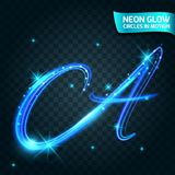 Neonowi łuna okręgi w ruch zamazywać krawędziach, błyskotliwość A świecenie, magiczny, kolorowy projekta wakacje, Abstrakcjonisty Obrazy Royalty Free