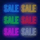 Neonowi barwioni znaki ustawiający Obrazy Royalty Free