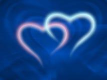 neonowi dwa serca Zdjęcie Royalty Free