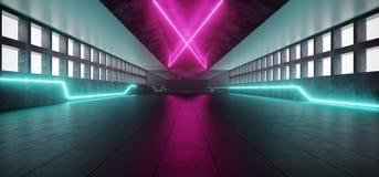 Neonowi Rozjarzeni purpur menchii Blue Line światła W Pustym zmroku Tęsk H ilustracja wektor