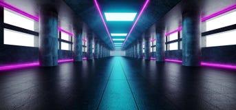 Neonowi Rozjarzeni purpur menchii Blue Line światła W Pustym zmroku Tęsk H royalty ilustracja