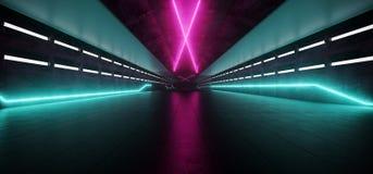 Neonowi Rozjarzeni purpur menchii Blue Line światła W Pustym zmroku Tęsk H ilustracji