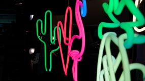 Neonowi znaki na pokazie zdjęcia royalty free