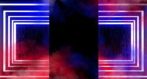 Neonowy łuk w ciemnym pustym pokoju Dym, neonowy światło świadczenia 3 d ilustracji