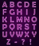 Neonowy światło pisze list abecadło ABC, wektorowa chrzcielnica Zdjęcia Royalty Free