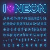 Neonowy abecadło Listy, symbole ilustracji