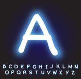 Neonowy błękitny abecadło wektor Zdjęcie Royalty Free
