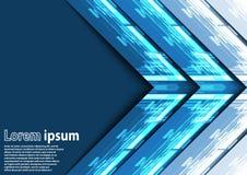 Neonowy błękitny strzałkowaty abstrakcjonistyczny tło Ilustracja Wektor