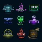 Neonowy cyrk, kino i filmu wektoru emblematy royalty ilustracja