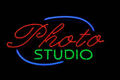neonowy fotografii znaka studio Obrazy Royalty Free