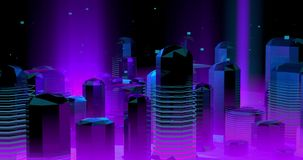 Neonowy futurystyczny miasto w fiołkowych i błękita światłach,