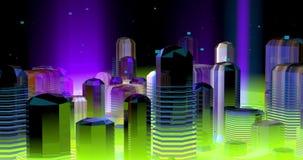 Neonowy futurystyczny miasto w fiołku i zielonych światłach,
