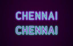 Neonowy imię Chennai miasto w India ilustracji