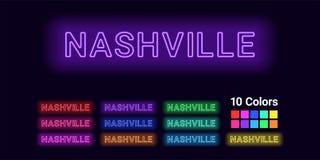 Neonowy imię Nashville miasto ilustracji