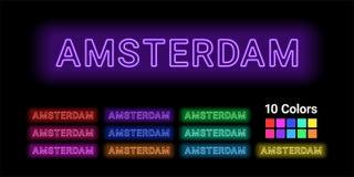 Neonowy imię Amsterdam miasto ilustracji
