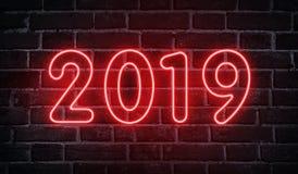 Neonowy jarzy się 2019 nowy rok reklamy projekt na ścianie ilustracji