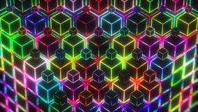 Neonowy kolorowy światło sześcianów 4k wideo tło ilustracji