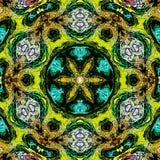 Neonowy koloru mandala, psychodeliczny projekt turkusowy arabesk royalty ilustracja