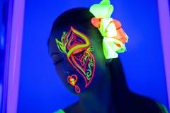 Neonowy kwiat uzupełniał Fotografia Royalty Free