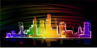 Neonowy miasta tło ilustracji