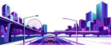 Neonowy miasto na białym tle ilustracji