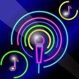Neonowy mikrofon z notatkami ilustracja wektor