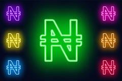 Neonowy Nigeryjski naira podpisuje wewnątrz różnorodne kolor opcje na ciemnym tle royalty ilustracja