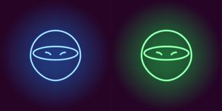 Neonowy ninja, rozjarzony zabójca Wektorowa gemowa ikona royalty ilustracja