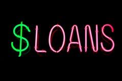 neonowy pożyczka znak Fotografia Royalty Free