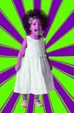 Neonowy portret preschool rozochocona dziewczyna folował długość Dzieciak na geometrycznym tle obrazy royalty free