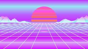 Neonowy retrowave słońce, góra i ilustracja wektor
