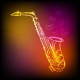 Neonowy saksofon Zdjęcia Royalty Free