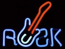 Neonowy skała znak Z gitarą zdjęcie stock