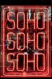 Neonowy Soho znak Obrazy Royalty Free