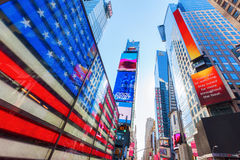 Neonowy USA flaga kwadrat czasami, NYC Obrazy Royalty Free