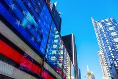 Neonowy USA flaga kwadrat czasami, NYC Obraz Royalty Free