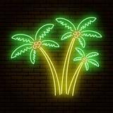 Neonowy znak, trzy drzewka palmowego różny rozmiar przeciw ceglanej starej ścianie ilustracji