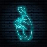 Neonowy znak z błękit łuną Ręka gest, palce krzyżujący royalty ilustracja