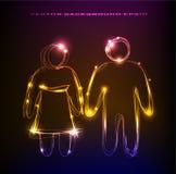 Neonpaar in de inzameling van het liefdeneon Royalty-vrije Stock Afbeeldingen